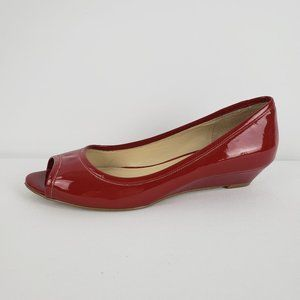Nine West Red Patent Peep Toe Shoes Size 7.5